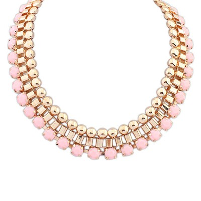 Slacks pink gemstone decorated Multi-level design alloy Bib Necklaces
