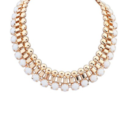Aluminium white gemstone decorated Multi-level design alloy Bib Necklaces