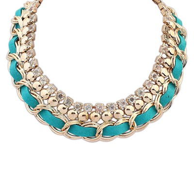 Fake blue CZ diamond decorated multi-level design alloy Bib Necklaces