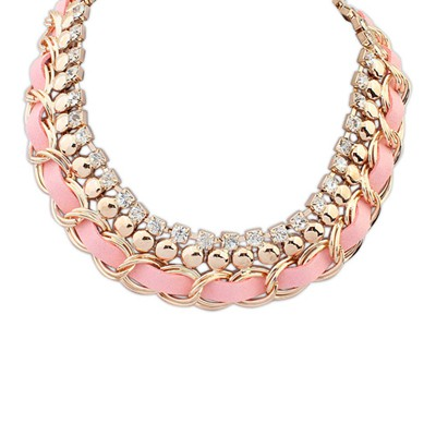 Kinetic pink CZ diamond decorated multi-level design alloy Bib Necklaces