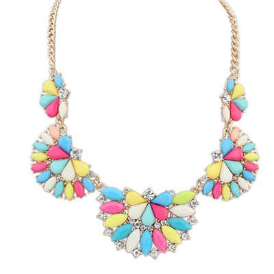 Exquisite multicolor gemstone decorated Fan-shaped design alloy Bib Necklaces