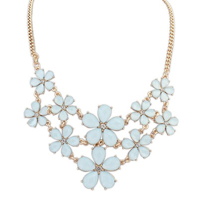 Rachel light blue gemstone decorated flower design alloy Bib Necklaces