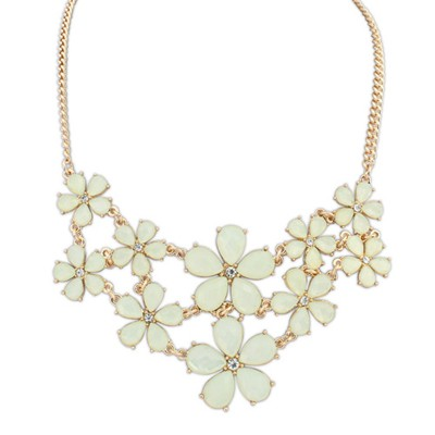 Online light yellow gemstone decorated flower design alloy Bib Necklaces