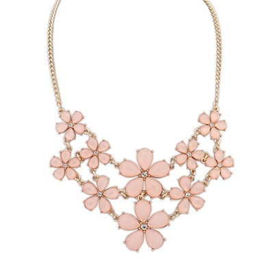 Hunting pink gemstone decorated flower design alloy Bib Necklaces