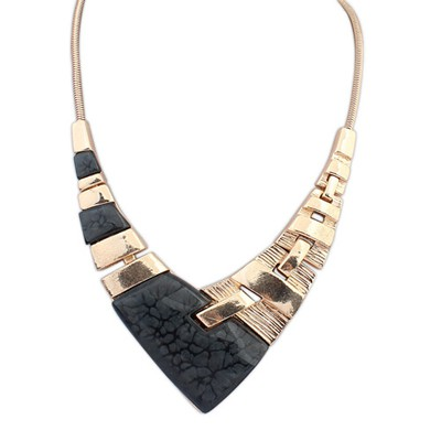 Short black irregular V-shaped simple design alloy Bib Necklaces