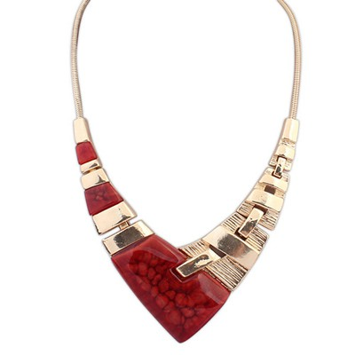 Trendy red irregular V-shaped simple design alloy Bib Necklaces