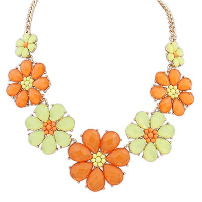 Novelty yellow & orange gemstone decorated flower design alloy Bib Necklaces