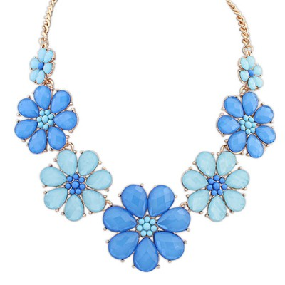 Venetian dark blue & light blue gemstone decorated flower design alloy Bib Necklaces