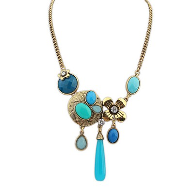 Little blue gemstone decorated tassel desgin alloy Bib Necklaces