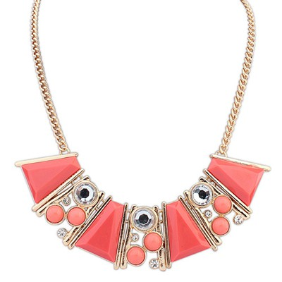 Faddish plum red gemstone decorated Trapezoidal design alloy Bib Necklaces