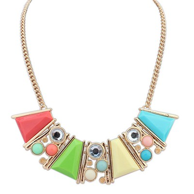 Hiking multicolor gemstone decorated Trapezoidal design alloy Bib Necklaces