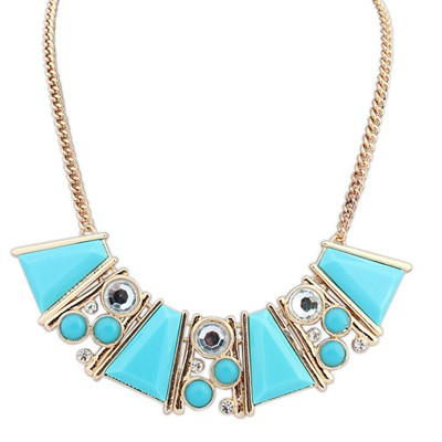 Waxing blue gemstone decorated Trapezoidal design alloy Bib Necklaces