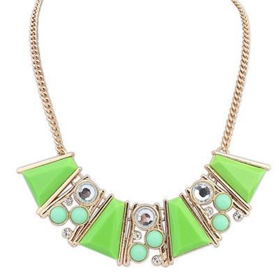 Masculine green gemstone decorated Trapezoidal design alloy Bib Necklaces