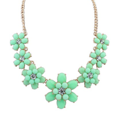 Extreme green gemstone decorated flower design alloy Bib Necklaces