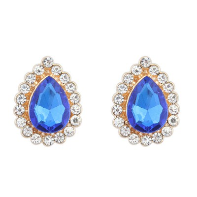 Squash blue CZ diamond decorated waterdrop design alloy Korean Earrings