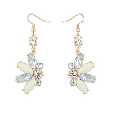 2013 beige CZ diamond decorated Butterfly shape design alloy Korean Earrings