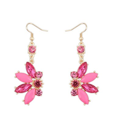 Indie plum red CZ diamond decorated Butterfly shape design alloy Korean Earrings