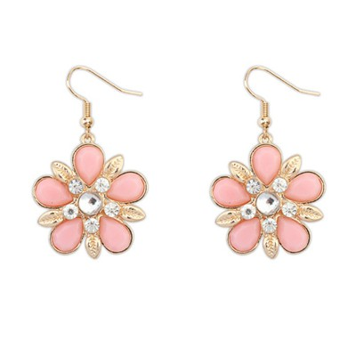Synthetic pink gemstone decorated flower design alloy Korean Earrings