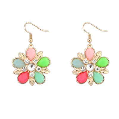 Elephant multicolor gemstone decorated flower design alloy Korean Earrings