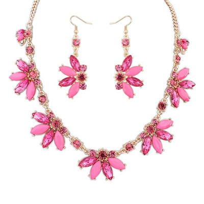 Satchel plum red CZ diamond decorated Butterfly shape design alloy Jewelry Sets