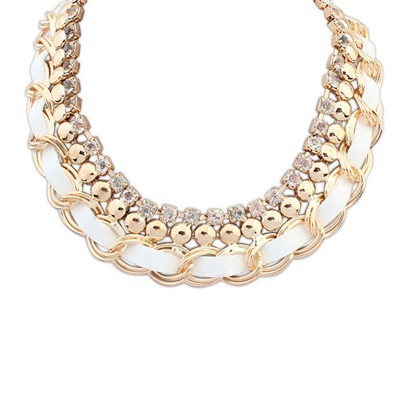 Discount white CZ diamond decorated multi-level design alloy Bib Necklaces