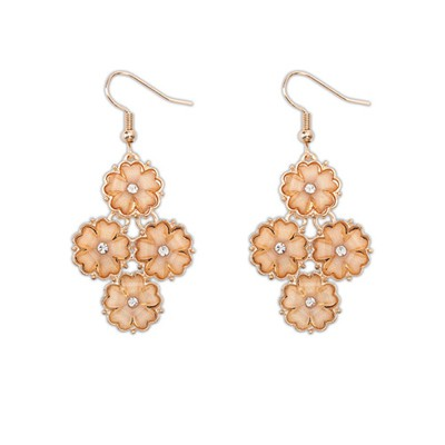 Online orange diamond decorated flower design alloy Korean Earrings