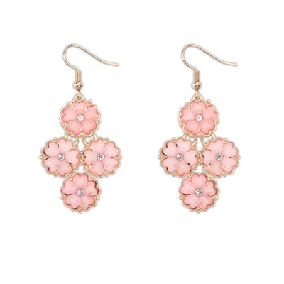 Tapered pink diamond decorated flower design alloy Korean Earrings