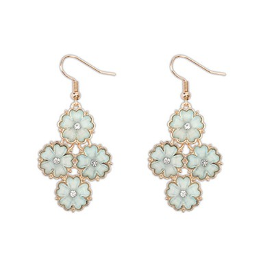 Winter light blue diamond decorated flower design alloy Korean Earrings