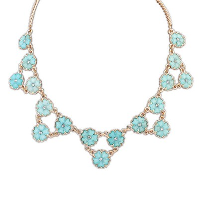 Pentacle light blue flower decorated triangle shape design alloy Bib Necklaces