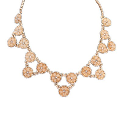 Softshell orange flower decorated triangle shape design alloy Bib Necklaces