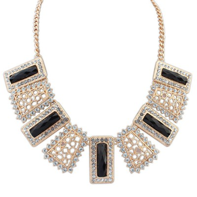 Japanese black gemstone decorated hollow out design alloy Bib Necklaces