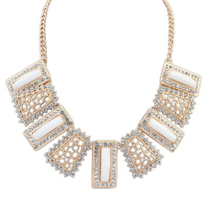 Minted white gemstone decorated hollow out design alloy Bib Necklaces
