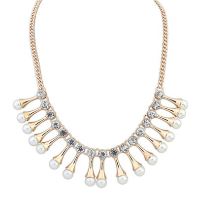 Pregnancy gold color diamond decorated pearl design alloy Bib Necklaces
