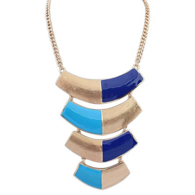 Everlas blue metal decorated curved design alloy Bib Necklaces