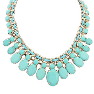 High blue gemstone decorated multi-level design alloy Bib Necklaces