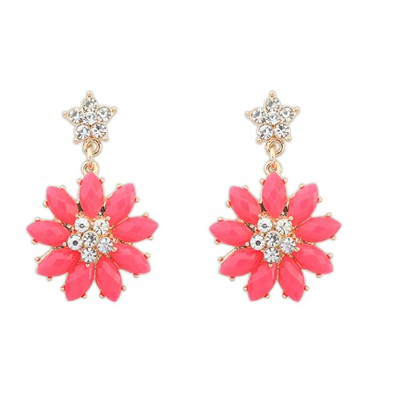 Statement plum red gemstone decorated flower design alloy Stud Earrings