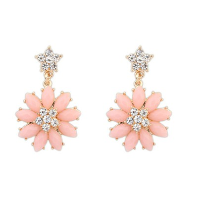Pierced light pink gemstone decorated flower design alloy Stud Earrings