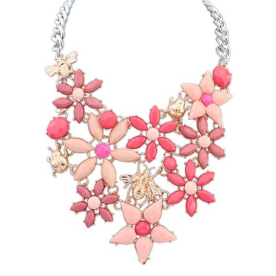 Lilac red insect decorated flower design alloy Bib Necklaces