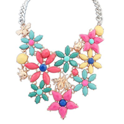 Dancing multicolor insect decorated flower design alloy Bib Necklaces