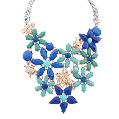 Healing blue insect decorated flower design alloy Bib Necklaces