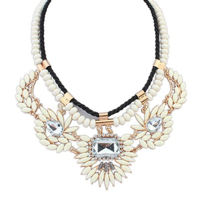 Autism beige gemstone decorated double layer design alloy Bib Necklaces