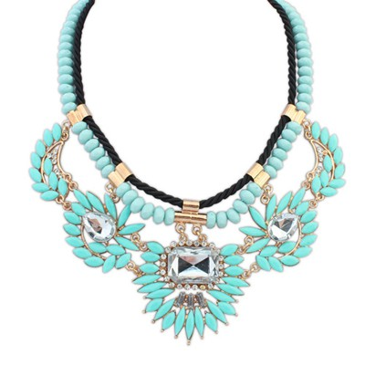 Bridesmaid blue gemstone decorated double layer design alloy Bib Necklaces