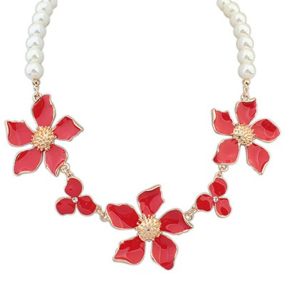 Light red flower decorated pearl design
