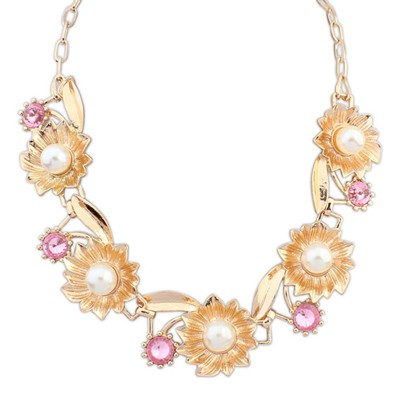 Cranes pink pearl decorated flower design alloy Bib Necklaces