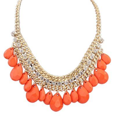 Formal orange diamond decorated waterdrop design alloy Bib Necklaces