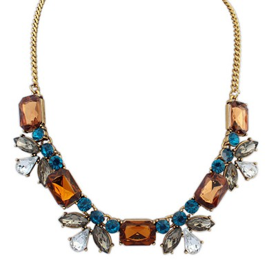 Beauteous yellow smoke gemstone decorated petal design alloy Bib Necklaces