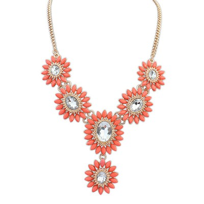 Engagement orange diamond decorated flower design alloy Bib Necklaces
