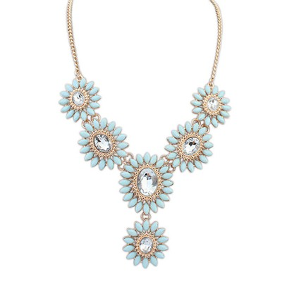 Profession light blue diamond decorated flower design alloy Bib Necklaces