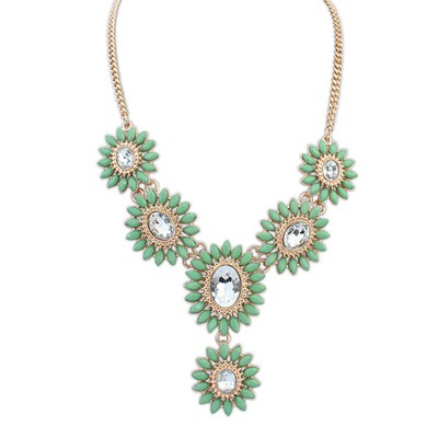 Native green diamond decorated flower design alloy Bib Necklaces