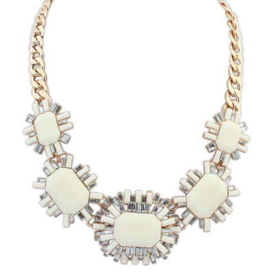 Elegant beige gemstone decorated octagonal design alloy Bib Necklaces